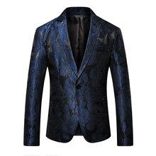 2019 Blazer Men Slim Fit Pattern Print Suit Jacket Men Prom Blazer For Men Designer Casual Blazer Men Long Sleeve Coats Jackets men s casual blazer leopard print turndown collar long sleeve slim fit casual suit