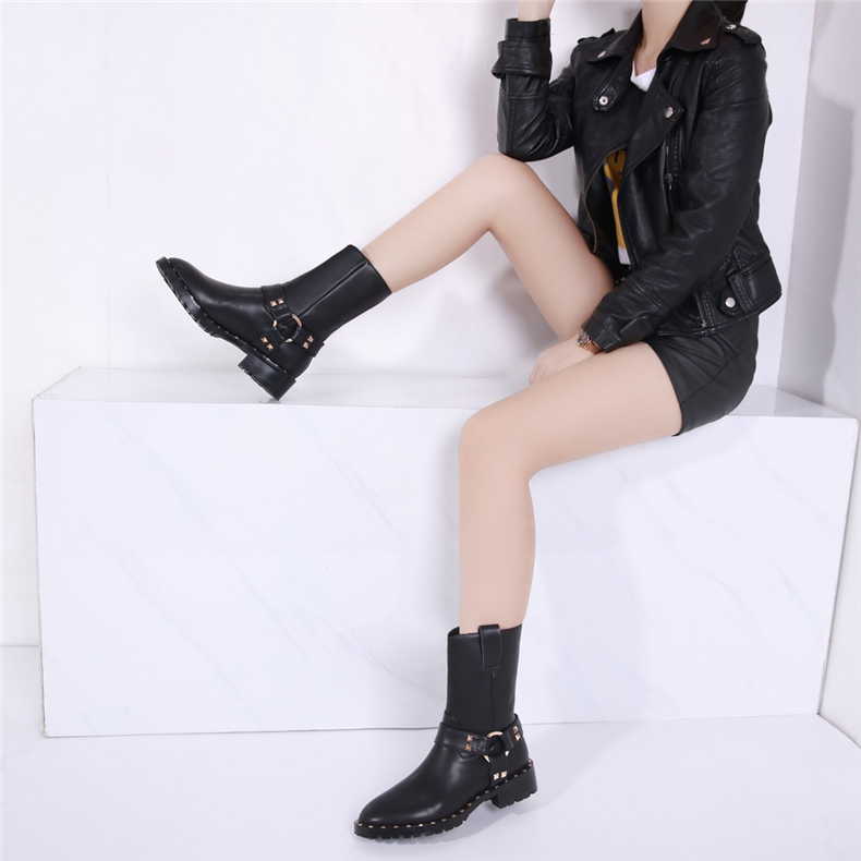 Fashion Leather Boots For Women Faux Flat Mid-Calf Boots Spring Autumn Women Boots Black Buckle Shoes Motorcycle Boots электрическая зубная щетка cs medica cs 561 kids