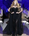 New Design Black Evening Dress Mermaid High Neck Lace Beaded Sequins Floor Length Long Party Dresses With Cloak