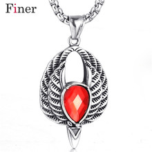 Gothic style inlaid garnet Opal sweater chain necklace pendant big bird garnet pendant Fashion natural stone pendants SALE opal