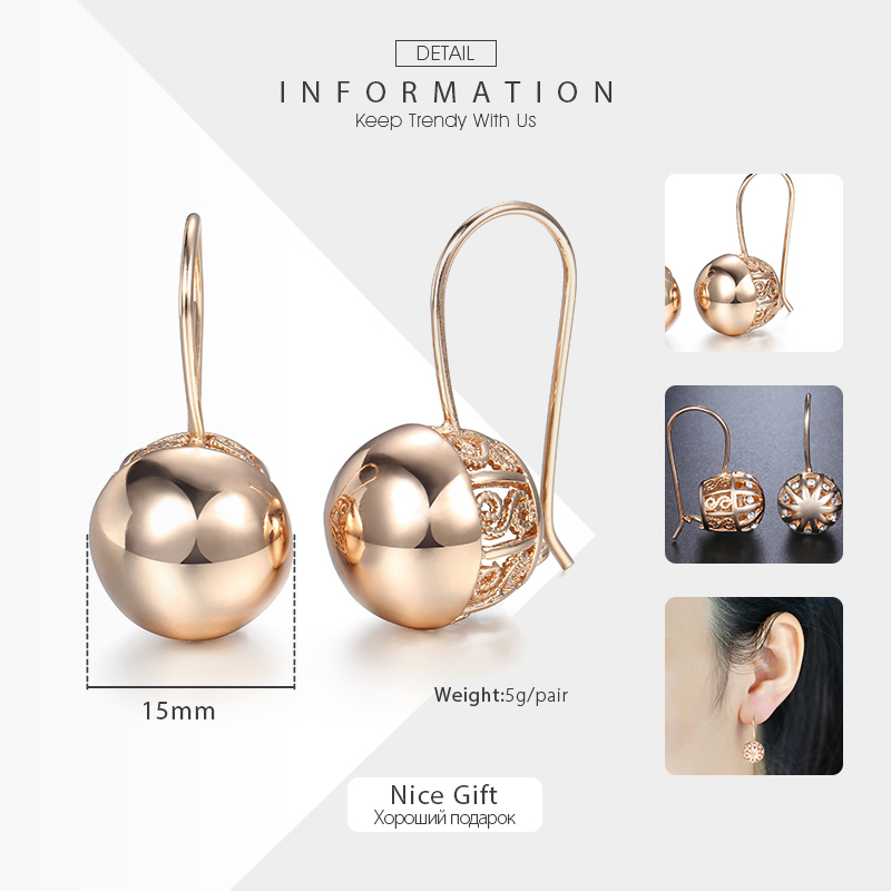 Davieslee Womens Stud Earrings 585 Rose Gold Filled Round Ball Stud Earring for Women Fashion Jewelry Snap Closure LGE66 2