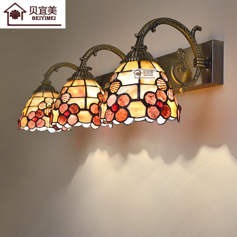 Mediterranean LED Tiffanylampe,Tiffany Mermaid Wall Lamp AC 110/220V E27 Shell Wall Lamps for Home Corridor Bedroom