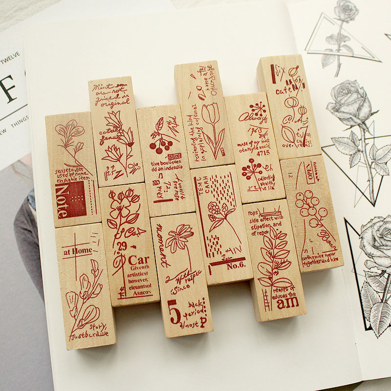 Vintage Garden Plants Wooden Rubber Stamps For Scrapbooking Stationery DIY Scrapbooking  Wooden Stamp