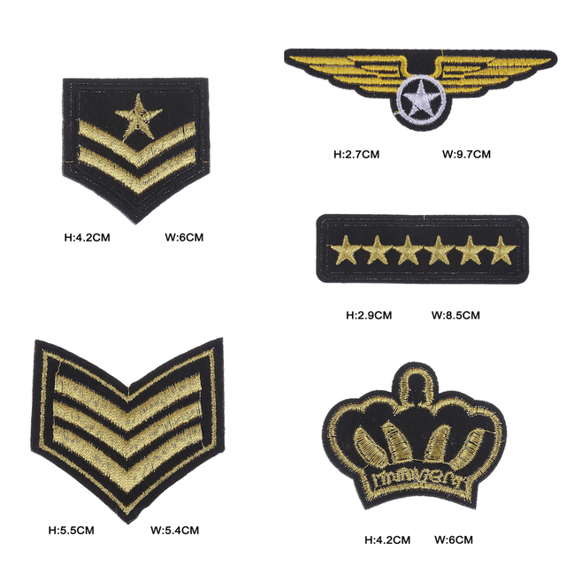 5 Pcslot Random Decoration Garment Craft Applique Military Rank
