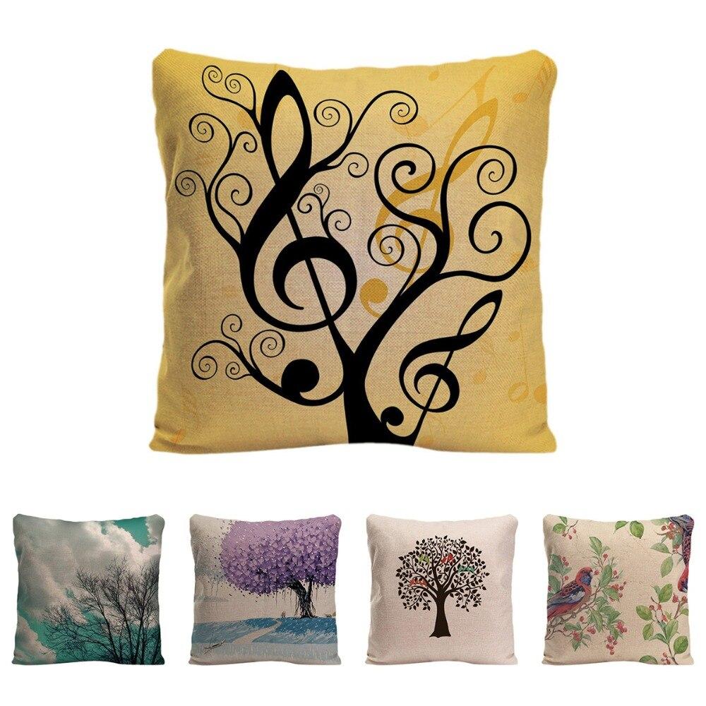Music Tree Cushion Cover Decorative Pillow For Sofa Car Covers Bird Coral Pillow Case Cotton Linen Animal Home Decor Pillowcase