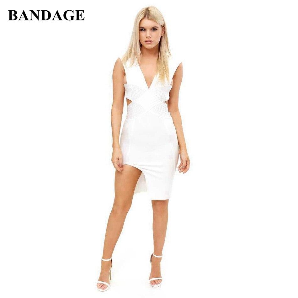 Offre spéciale Sexy dos nu Bandage robe rouge Olive blanc profond col en V gaine fendue robes célébrité partie Club sans manches Vestido