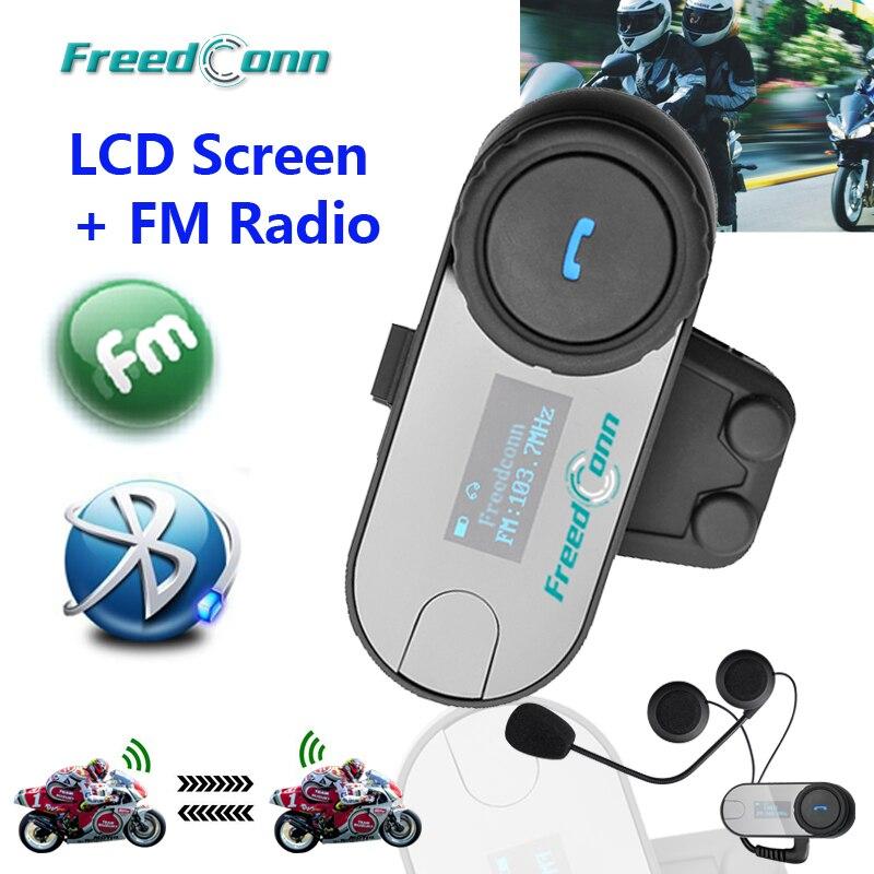 FreedConn TCOM SC Bluetooth Motorcycle Helmet Intercom Moto BT Interphone Headset with LCD Screen FM Radio