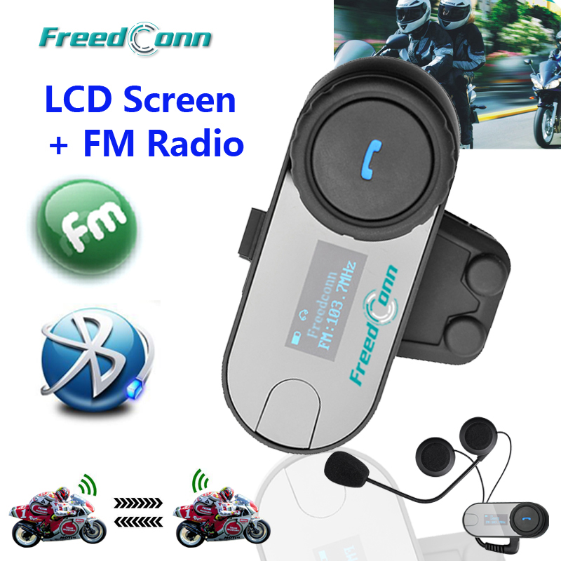 FreedConn TCOM SC Bluetooth Motorcycle Helmet Intercom Moto BT Interphone Headset with LCD Screen FM Radio-in Helmet Headsets from Automobiles & Motorcycles    1