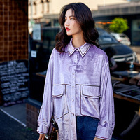 A081 Spring and Summer fashion gloss sense chic brand bling blouse of new style original design large size loose blouse