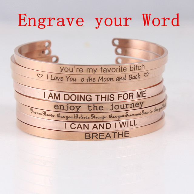 2018 Custom Your Word Inspirational Bracelet Personalized Jewelry Initial Engraved Name Bangle For