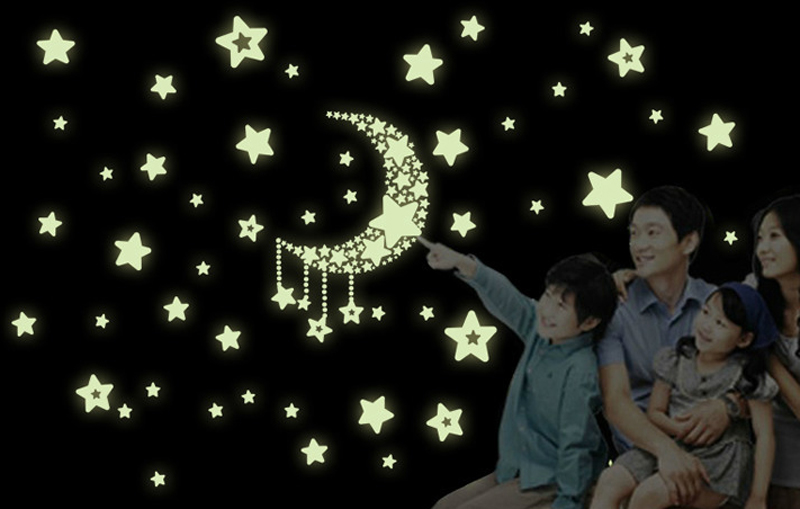 1pcs Star Moon Fluorescent Switch Stickers Glow In The
