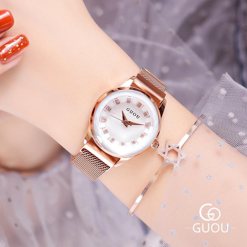 2019 Star Zircon Stone Crystal Round Dial Steel Watchband Luxury Fashion Waterproof Lady Quarz Wrist Watch G6610