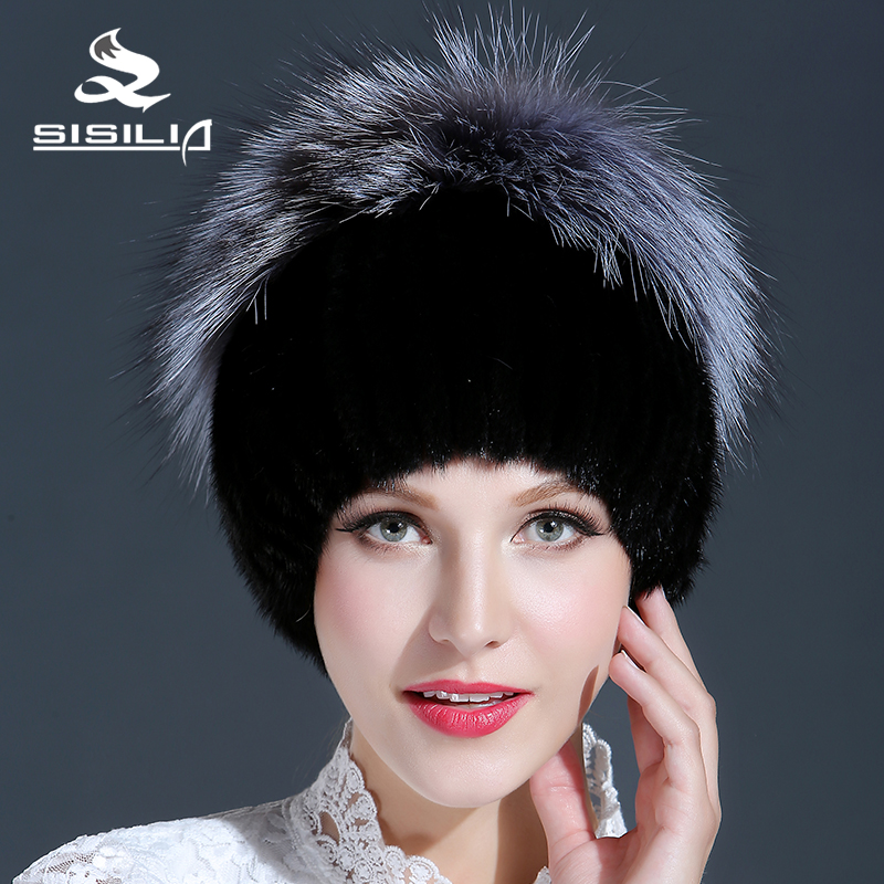 2016 New Black Good Fur Hat With Silver Fox Fur Keep Warm Beanies Cap New Thick