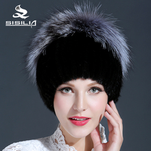 2016 New Black Mink Fur Hat With Big Silver Fox Fur Keep Warm Beanies Cap New Thick Female Cap