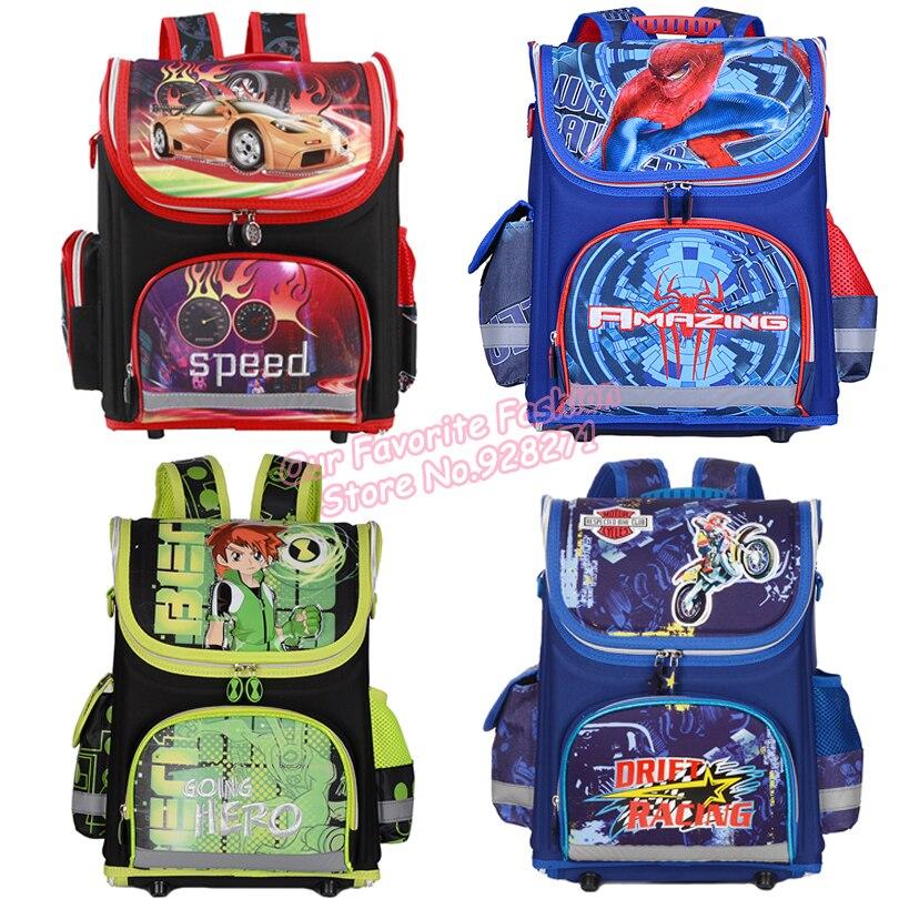 comprare popolare 157c3 24164 US $34.88 |Spiderman cars ragazzi sacchetti di scuola ortopedico ben 10  bambini zaini per i ragazzi zaino monster high maschio bambini mochila ...