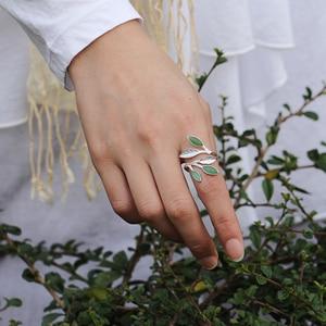 Image 4 - Lotus fun real 925 sterling silver anel aberto pedra natural design feito à mão jóias finas primavera no ar folhas anéis para mulher