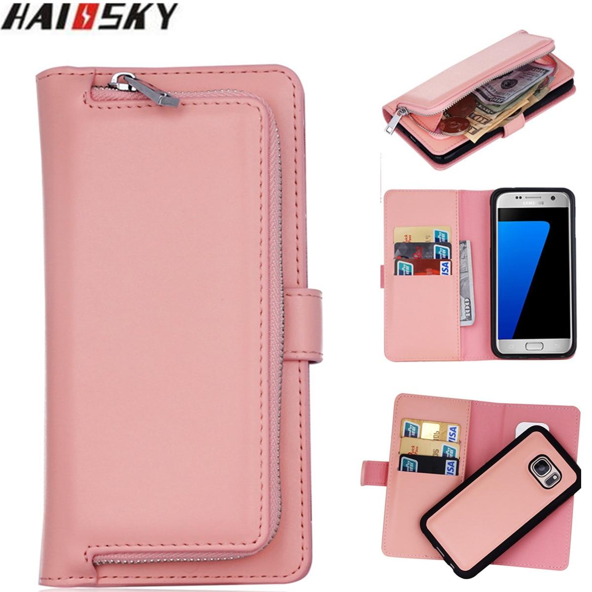 Pouzdro na zipper peněženku pro Samsung Galaxy S9 S8 Plus S7 S6 hrana Flip Kožené magnetické pouzdro pro Samsung S6 S5 Note 9 8 Cover