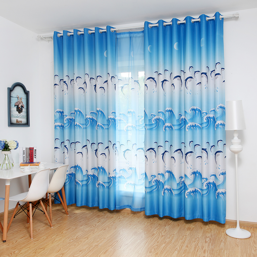 Modern curtain dolphin printing window curtains blackout - Blue and purple bedroom curtains ...