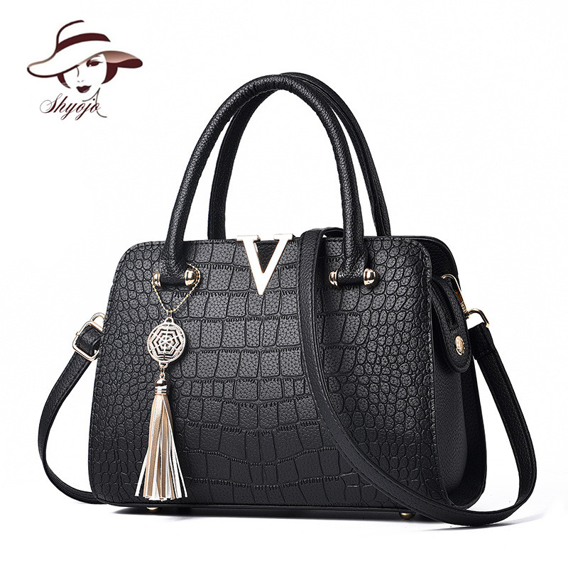 New V Brand Crocodile Pattern Wome Handbag Lady Messenger Bags Crossbody Shoulder Bag Female Tassel Quality PU Leather Handbags