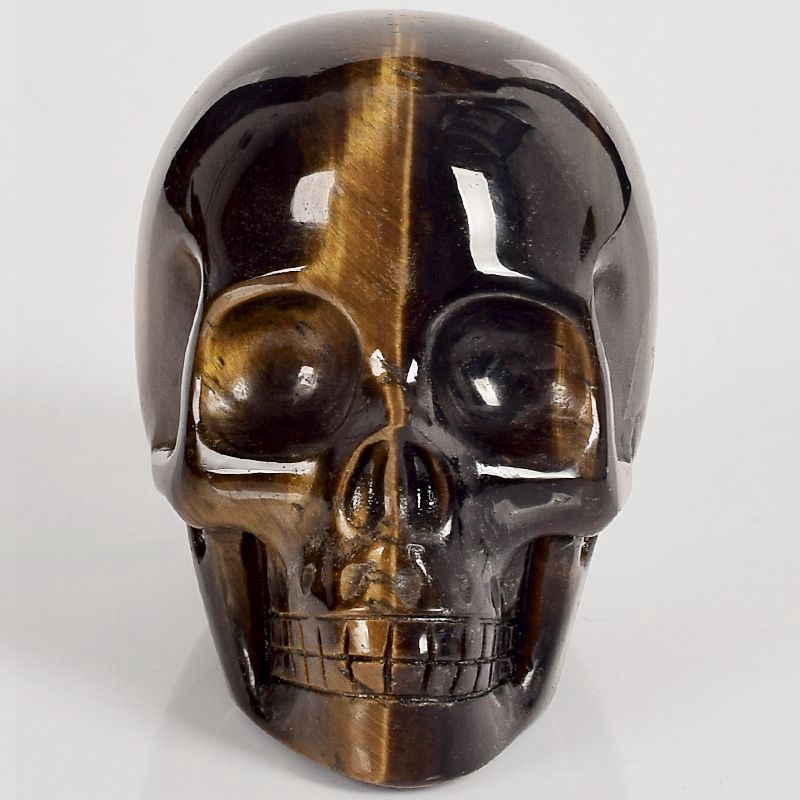 3 inch tiger eye refinement Skull figurine natural stone mineral Carved Realistic statue healing Home Ornament
