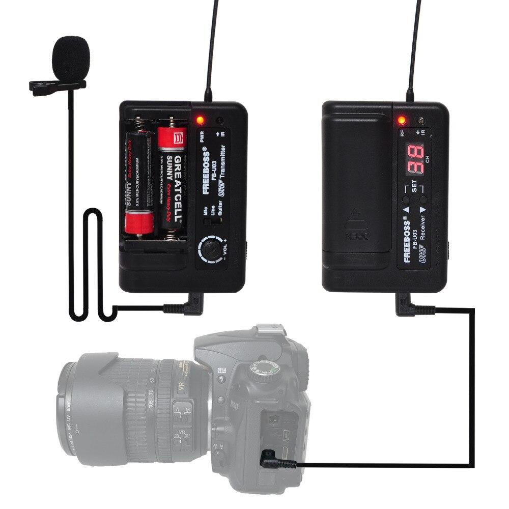 FREEBOSS FB-U03-2 1 voie 100 canal Bodypack transmetteur sans fil Microphone caméra guitare Microphone partie karaoké Microphone