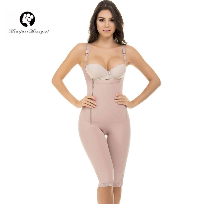 Women Firm Tummy Control Shapewear Post Surgery Postpartum Colombian Open Bust Body Shaper Capri Thin Straps