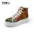 FORUDESIGNS Sapatos de Plataforma Das Mulheres Sapatos Casuais Sapatos Da Moda Paillette Impressão de Alta-top Mulheres Sapatos Lace-up Planas Respirável Zapatos Mujer