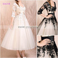 New Arrival White Short Wedding Dresses Lace Appliques Sashes Bridal Gown Plus Size Ivory vestidos de novia (SL-W144)