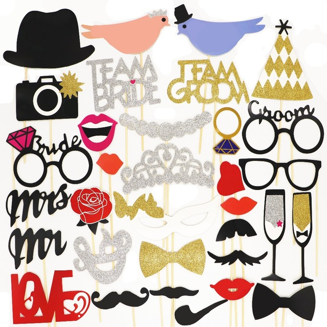 US $3 99 |Photo Booth MrMrs Just Married Wedding Party DIY Photobooth Props  Wedding Decorations Hen Bachelorette Party Groom Bridal shower-in
