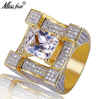 MISSFOX Hip Hop Paris Eiffel Tower Base Rings For Men Big Square Diamond Prong Setting Luxury Ring High End 18k Gold Men Jewelry