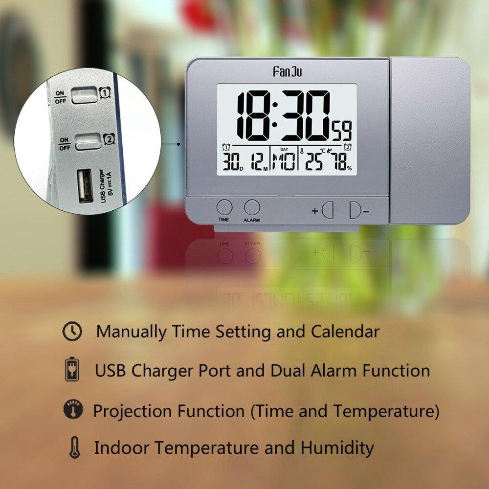 Image 2 - FanJu FJ3531 проекционный будильник цифровые часы с функцией повтора даты подсветка проектор стол настольные светодиодные часы с проекцией времени-in Будильники from Дом и животные