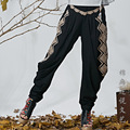 The new democratic women's Literary Style Embroidered cross legged trousers wide leg pants
