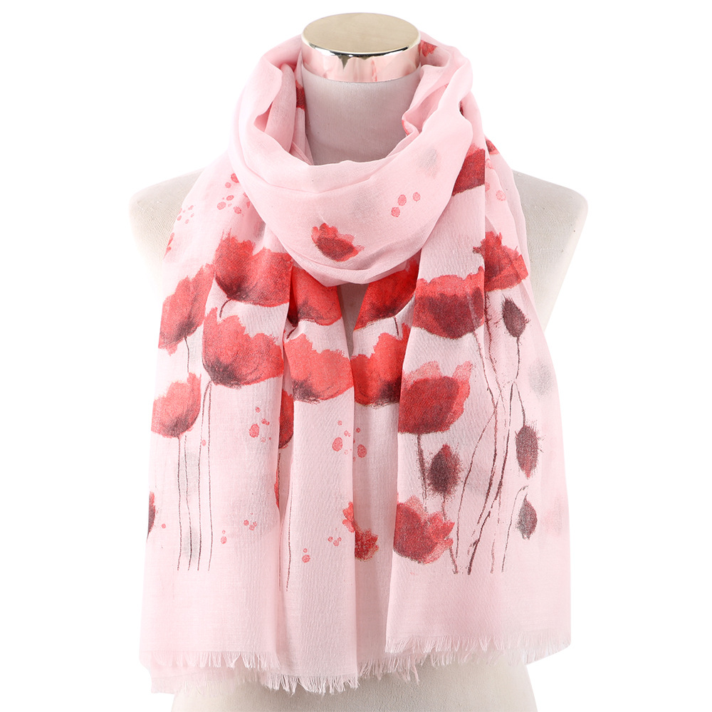 Poppy Printed Scarf Female New Floral Pattern Spring Autumn High Quality Shawls 70*180CM Fashionable Temperament All-match Scarf