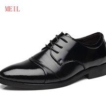Hidden Heel 6CM MEIL Brand Classic Man Pointed Toe Dress Shoes Mens Cow Split Leather Black Wedding Oxford Formal