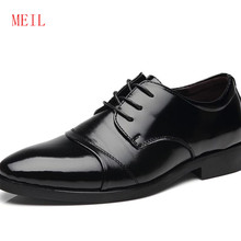 Hidden Heel 6CM MEIL Brand Classic Man Pointed Toe Dress Shoes Mens Cow Split Leather Black Wedding Shoes Oxford Formal Shoes(China)