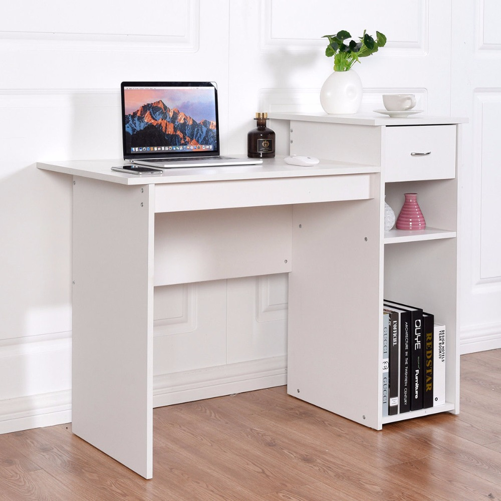 Giantex Computer Desk PC Laptop Table W/ Drawer And Shelf Home Office Furniture White Commercial Furniture HW57285WH