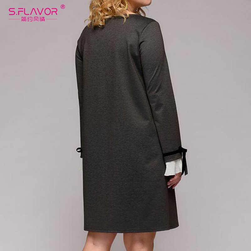 S. GESCHMACK 2020 Mode Frauen Casual Kleid Plus Größe Lose Elegante Lange Hülse O-ansatz Kleid Patchwork EINE linie Partei Vestidos