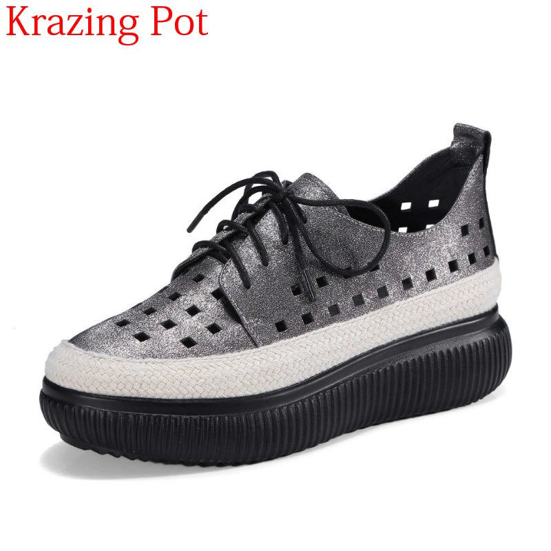 2018 Fashion Genuine Leather Round Toe Lace Up Hollow Thick Bottom Causal Shoes Classics Wedges Women Vulcanized Shoes L6f8