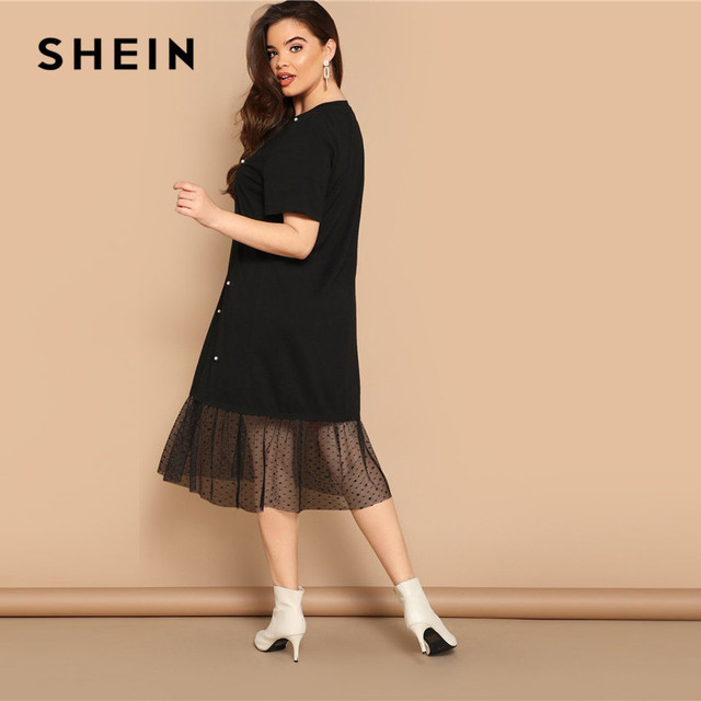 SHEIN Plus Size Casual Black Pearl Beading Partchwork Sheer Dot Mesh Hem Women Straight Dresses 2019 Summer Short Sleeve H Dress 2