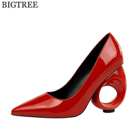 2018 Women pumps Fashion Shaped heel High heels single shoes female Spring Summer patent leather Wedges wedding shoes woman k687