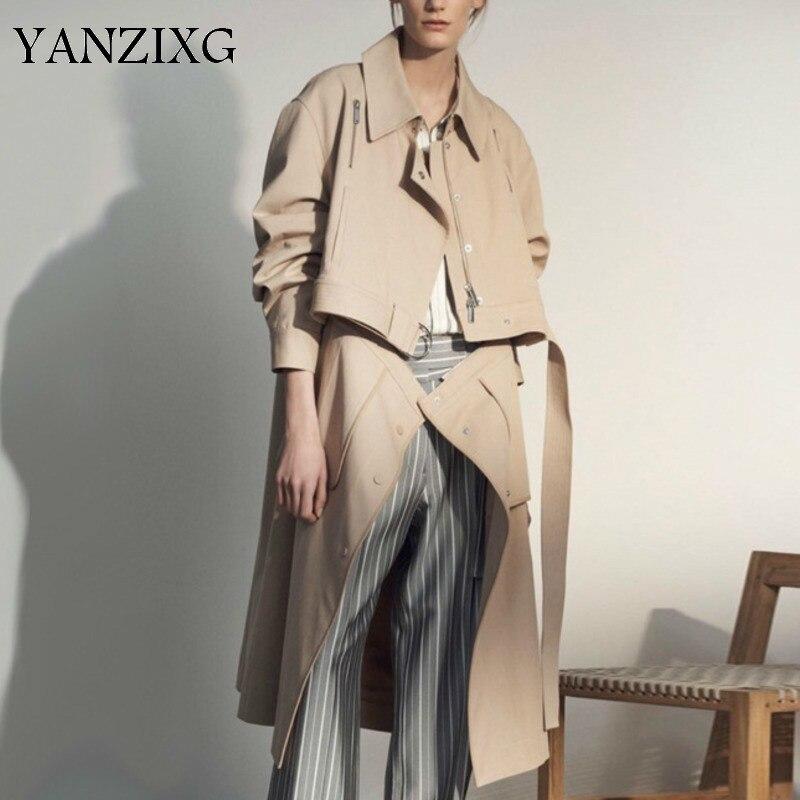 Detachable Unique Lapel Patchwork Sashes   Trench   Coat For Women Zippers Long Section Autumn Casual Clothes Windbreaker E968