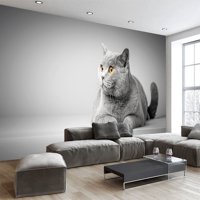 Cartoon Animal Canvas Cat Wallpaper Wall Sticker Murals Children S