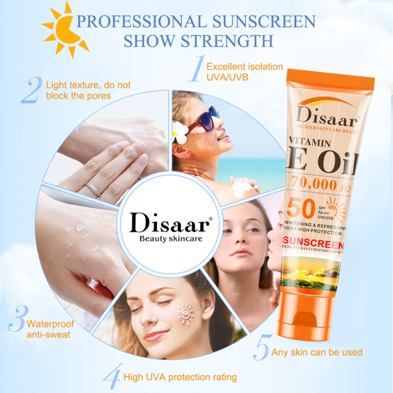 SPF50+ Vutamin C Sunscreen Cream Waterproof Sunblock Foundation Whitening Isolation Moisturizing Oil Control Face Body Skin Care(China)