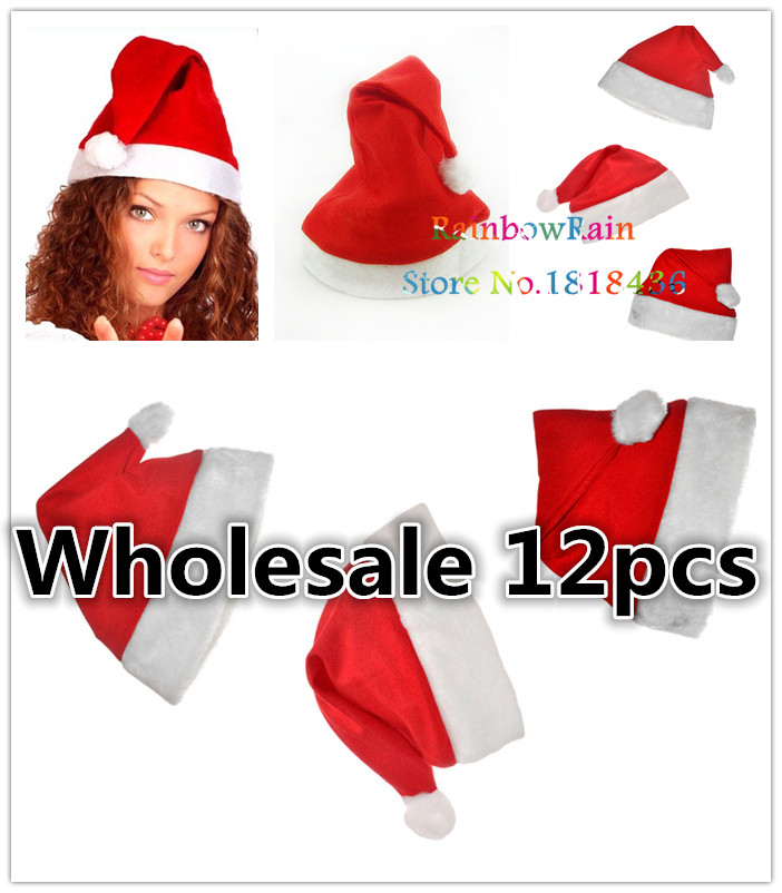 12pc  lot santa claus hats for christmas festival