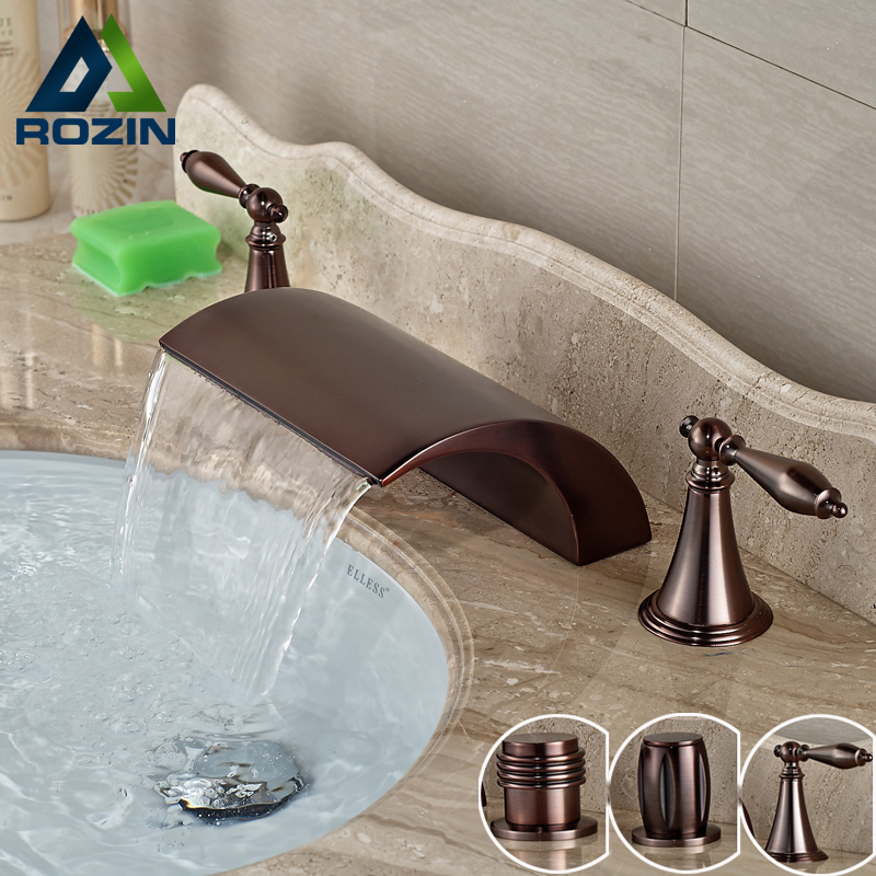 Oil Rubbed Bronze Waterfall Widespread Dual Handle Basin Sink Faucet Deck Mounted Brass Mixer Water Taps new luxury oil rubbed bronze deck mounted waterfall basin faucet dual handles sink mixer tap