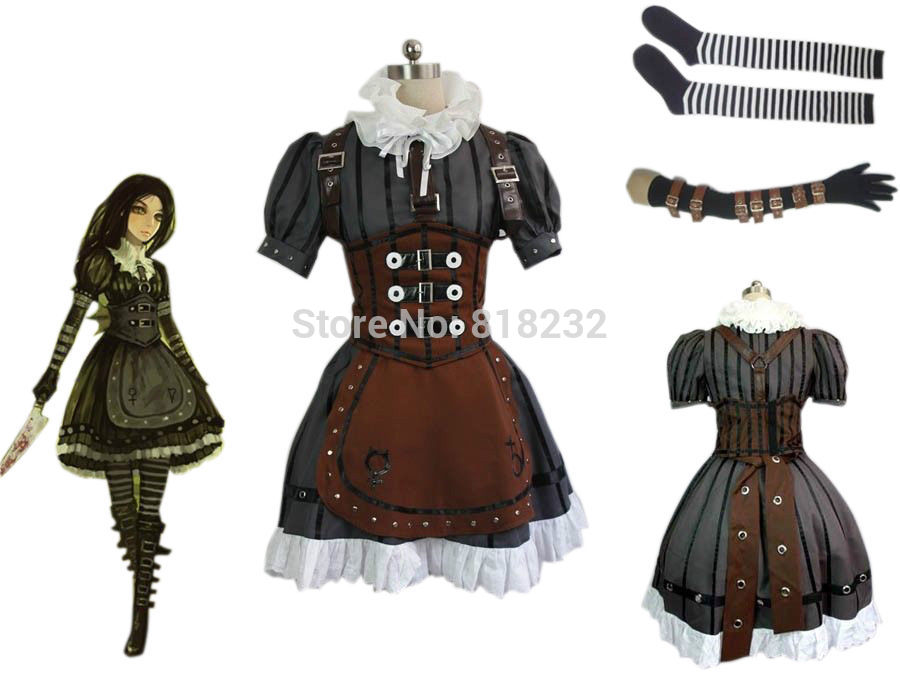 Alice Madness Returns Alice Maid Apron Dress Uniform Outfit Cosplay Costumes alice madness returns heroine alice cosplay costume black white striped customized anime uniform