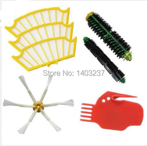 6-Armed Side Brush Bristle Brush Flexible Beater Brush Filter Cleaning Tool Kit For iRobot Roomba 500 Serie Cleaner Accessory vacuum cleaner accessory kit roomba 500 551 536 accessory kit replacement includes 1 battery 3 side brush 3 filters