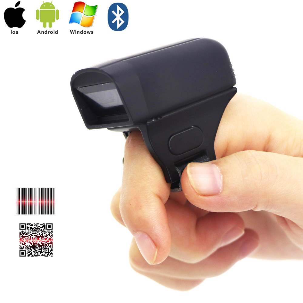 RUGLINE Mini Bluetooth Portable Ring 2D Scanner Barcode Reader For IOS Android Windows PDF417 DM QR Code 2D Wireless Scanner