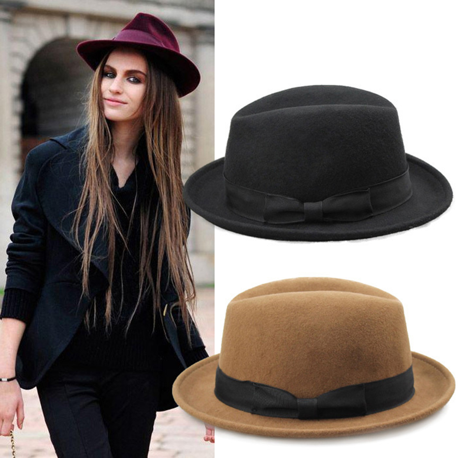 46217bcc368de Fashion Women VTG Black Fedora hat Style Felt Trilby Hat BNWT NEW Gangster  Laday Panama Sun Hat With Band 10