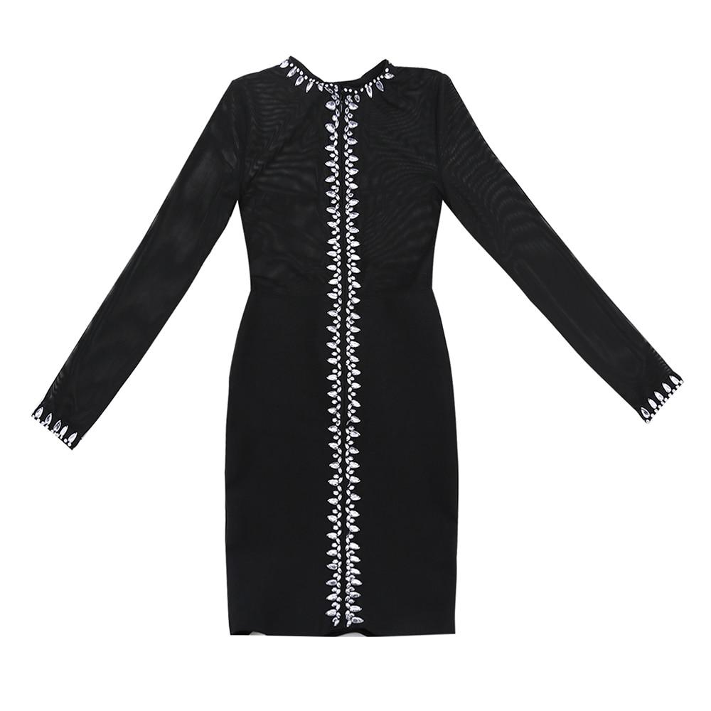 2019 Perles Robes Maille Celebrity Nouveau Tenue Robe Femmes À Manches Longues Noir Lacée Élégant Mini De Fête Patchwork Évider shQtCxBord